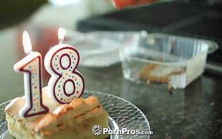 PornPros - Cassidy Ryan celebrates her 18th birthday with cake with an increment of cock