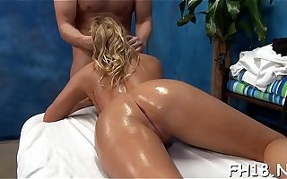 Sexy 18 year old belle gets fucked hard from behind by the brush massage therapist